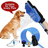 Tolmnnts Pet Shower Sprayer and Grooming Glove 2 in 1 Pet Bathing Tool,Make Your Dogs/Cats Bathing,Massage and Hair Remove Easier,Compat with Shower Bathtub and Outdoor Garden Hose
