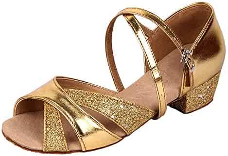 b3a644106 staychicfashion Girls Soft-Soled Glittering Latin Ballroom Dance Shoes with  Leather Strap
