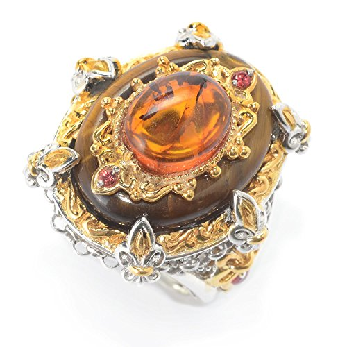Michael Valitutti Palladium Silver Tiger's Eye, Amber & Orange Sapphire Fleur-de-lis Ring