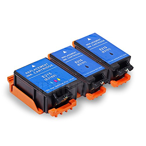 INKUTEN Replacement T215 Ink Cartridges (2 Black, 1 Color) - 3 Pack for WF100
