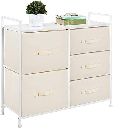 mDesign Cómoda de tela – Estrecho organizador de armarios con 5 cajones – Práctico mueble cajonera para el dormitorio, la habitación infantil o zonas pequeñas – Armario con cajones – crema y blanco: Amazon.es: Hogar