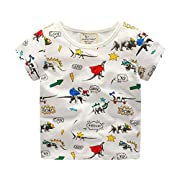 Todaies Toddler Kids Baby Boys Clothes Short Sleeve Dinosaur Print Tops T-Shirt Blouse 3 Colors 2018 (2-3T, White)