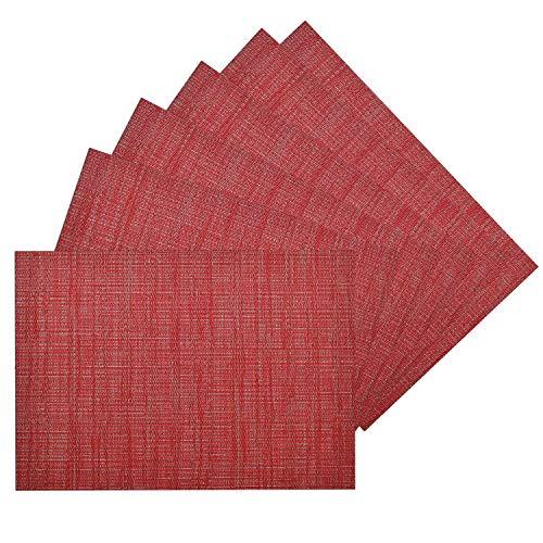 Benson Mills Woven Vinyl/Metallic PLACEMATS Set of 6 (RED/Silver, 13 X 18)