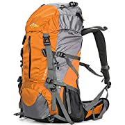 Loowoko Hiking Backpack 50L Travel Camping Backpack with Rain Cover – No Internal Frame
