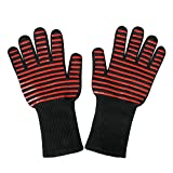 Ewolee BBQ Gloves, Heat Resistant Silicone Gloves Up to 932°F Premium Insulated Cooking Mitts for Oven, Cooking, Baking and Grilling