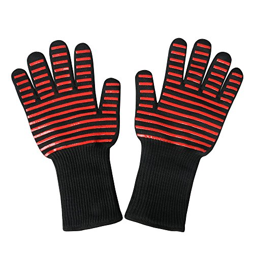 Ewolee BBQ Gloves, Heat Resistant Silicone Gloves Up to 932°F Premium Insulated Cooking Mitts for Oven, Cooking, Baking and Grilling by Ewolee