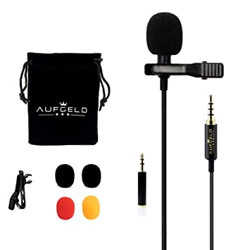 Aufgeld Professional Small Mini Lavalier Lapel Omnidirectional Condenser Microphone for iPhone Android Windows Cellphone Clip On