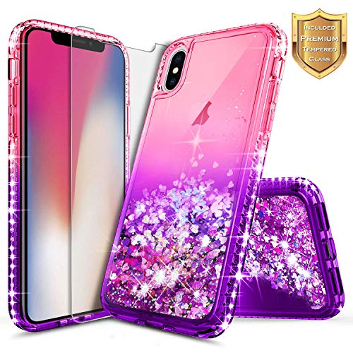 iPhone X Case, iPhone Xs Glitter Case, NageBee Liquid Quicksand Waterfall Flowing Sparkle Shiny Bling Diamond Girls Cute Case w/[Tempered Glass Screen Protector] for iPhone 10/X/Xs -Pink/Purple