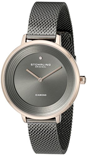 Stuhrling Original Women's 589.04 Symphony Grey And Rose-Tone Stainless Steel Diamond Watch