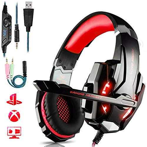 Auriculares Gaming PS4,Cascos Gaming de Mac Estereo con Microfono Cascos Gaming 3.5mm Jack con Luz LED Bass Surround y Cancelacion de Ruido Auriculares Compatible con PC/Xbox One/Nintendo Switch