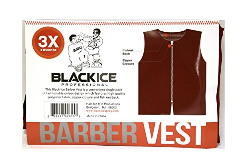 Black Ice Barber Vest Size 3XLarge BURGUNDY Professional polyester fabric with zipper closure - Ice Burgundy