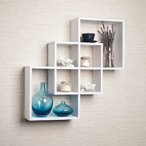 intersecting squares decorative white wall shelf - Decorative Shelf