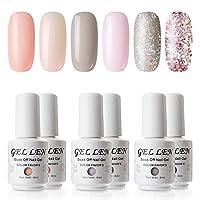 Gellen Gel Polish Set - Pure & Glitters Series Popular 6 Colors (Peach, Shell, Pink, Gray, Champagne Glitter, Pink Glitter)