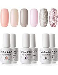 Gellen Gel Nail Polish Set - Pure & Glitters Series...