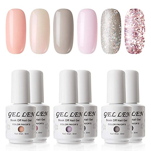 Gellen Gel Nail Polish Set - Pure & Glitters Series Popular 6 Colors (Peach, Shell, Pink, Gray, Champagne Glitter, Pink Glitter)