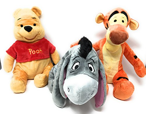 Disney Winnie the Pooh Plush Set Bundle. Winnie the Pooh Plush Set includes Winnie the Pooh, Tigger, and Eeyore Plush Dolls - Medium 15 inch Plush Dolls