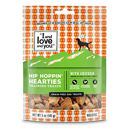 """I And Love And You"" Hip Hoppin' Hearties With Chicken Grain Free, Functional Dog Treats, 5 Oz"
