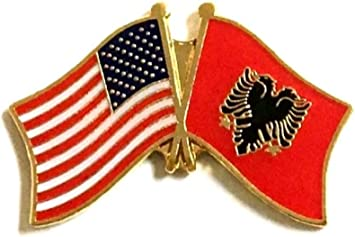 Pack of 3 Albania and USA Crossed Double Flag Lapel Pins International Friendship Enamel Tie and Hat Badges