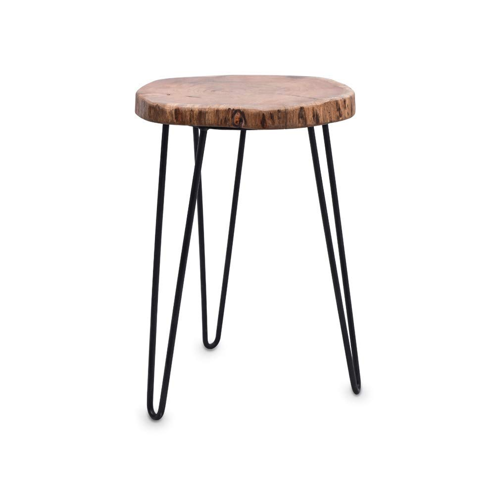 Casa Decor Acacia Wood Live Edge Slab Table On Steel Hairpin Legs 16x21 Brown Amazon In Home Kitchen