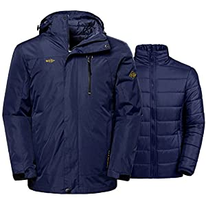 Wantdo Men's Winter Ski Jacket Water Resistant Windproof 3 In 1 Jacket Puff Liner