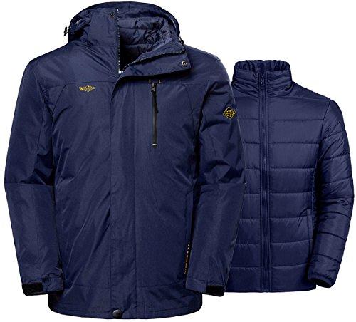 Jacket Replacement Liners (Wantdo Men's Winter Ski Jacket Water Resistant Windproof 3 In 1 Jacket Puff Liner)
