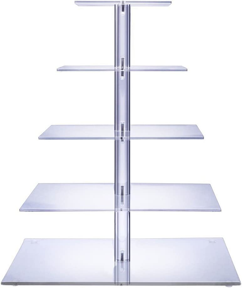 BonNoces 5 Tiers Square Acrylic Large Pastry Cupcake Stands Holders Tree-Clear Square Wedding Cake Stand-Cupcake Tower Stand Display-Cupcake Carriers for Wedding Party
