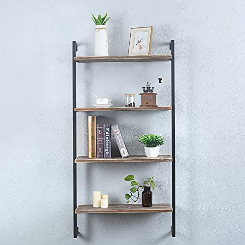 GWH Industrial Metal and Wood Wall Shelf Unit,Rustic Floating Wood Shelves Wall Mounted,24in Iron Real Reclaimed Wood… 2