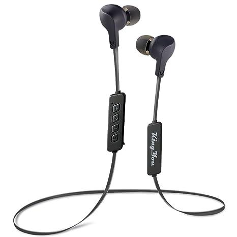 6b46397ef8f Kingyou Bluetooth Headphones V4.1 Wireless Sport Earbuds Comfort Fit Heavy  Bass Sweatproof in-