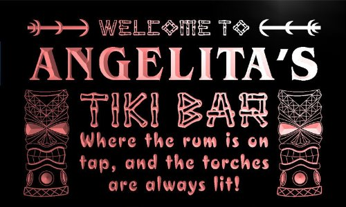 pmg920-r Angelita's Tiki Bar Mask Beer Pub Neon Light Sign
