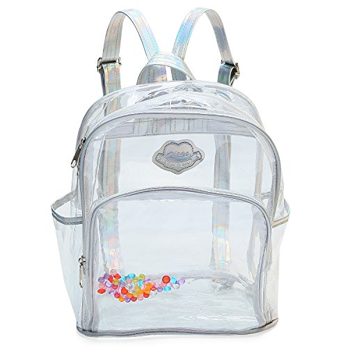 Zicac Girls' Transparent Laser Sequins Backpack Children Bookbag School Daypack Satchel Shoulder Handbag (Silver)
