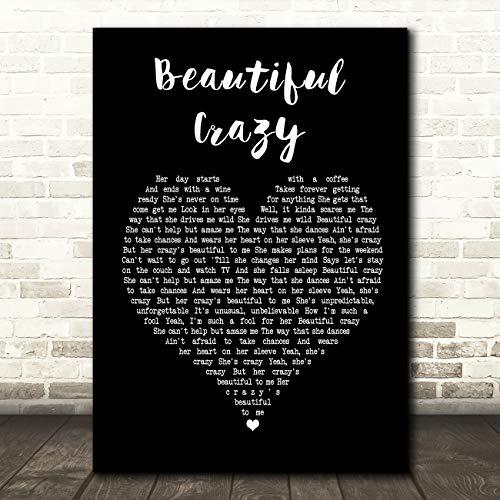Art Gift Print Christmas - Beautiful Crazy Black Heart Song Lyric Quote Wall Art Gift Print
