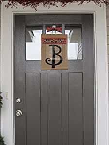 "Burlap Monogram Door Flag (approx. 10""x14"") - Fall Ribbon Collection!"