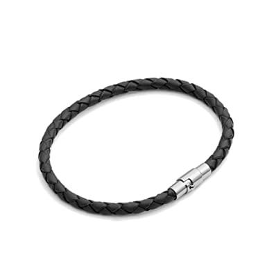 Tribal Steel 19cm Thin Black Plaited Leather Bracelet for Women Cnm9QQ