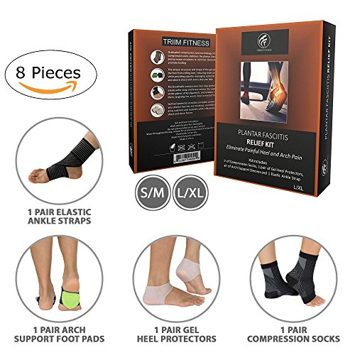 Plantar Fasciitis Relief Kit - Includes Plantar Fasciitis Silicone Heel Protectors-1 pair, Arch Support Pads-1 pair, Compression socks-1 pair, Ankle brace-1 pair(4 pairs/8 count) & Exercise E-Guide