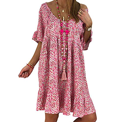 Casual Plus Size Dress,Londony Women Bohemian Neck Tie Vintage Printed Ethnic Style Summer Shift Dress Pink