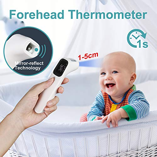 Touchless Forehead Thermometer for Adults, Infrared Digital Thermometer for Fever with Fever Alert and 32 Set Memory Recall, Home Care Thermometer for Adults and Baby Kids (Batteries Not Included)