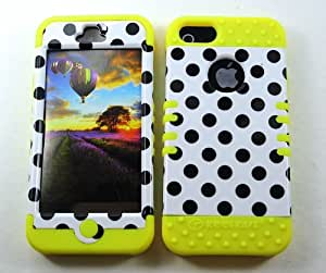 Cell-Attire Shockproof Hybrid Case For Apple IPhone 5, 5S and Stylus Pen, Yellow Soft Rubber Skin with Hard Cover (Polka Dots, Black, White) AT&T, T-Mobile, Sprint, Verizon, Cricket, Virgin Mobile, Boost Mobile by runtopwell