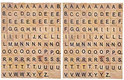 200 Piezas Madera de la Letra Azulejos Letras del Scrabble Juegos de Mesa Alfabeto Cuadrado Educativo Scrabble Letras para Joyas Hacer Manualidades: Amazon.es: Juguetes y juegos