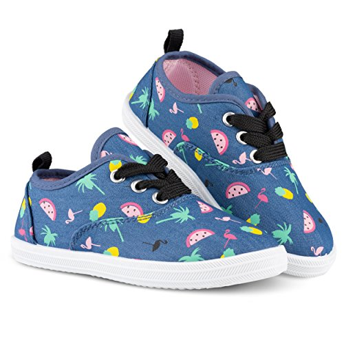 Chillipop Girls Canvas Sneakers - Casual Lace-up Shoes, Colorful Prints Canvas Lace Up Shoes