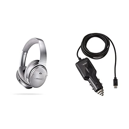 f879fe4c709 Amazon.com: Bose QuietComfort 35 Wireless Headphones, Noise Cancelling -  Silver with AmazonBasics Car Charger: Electronics