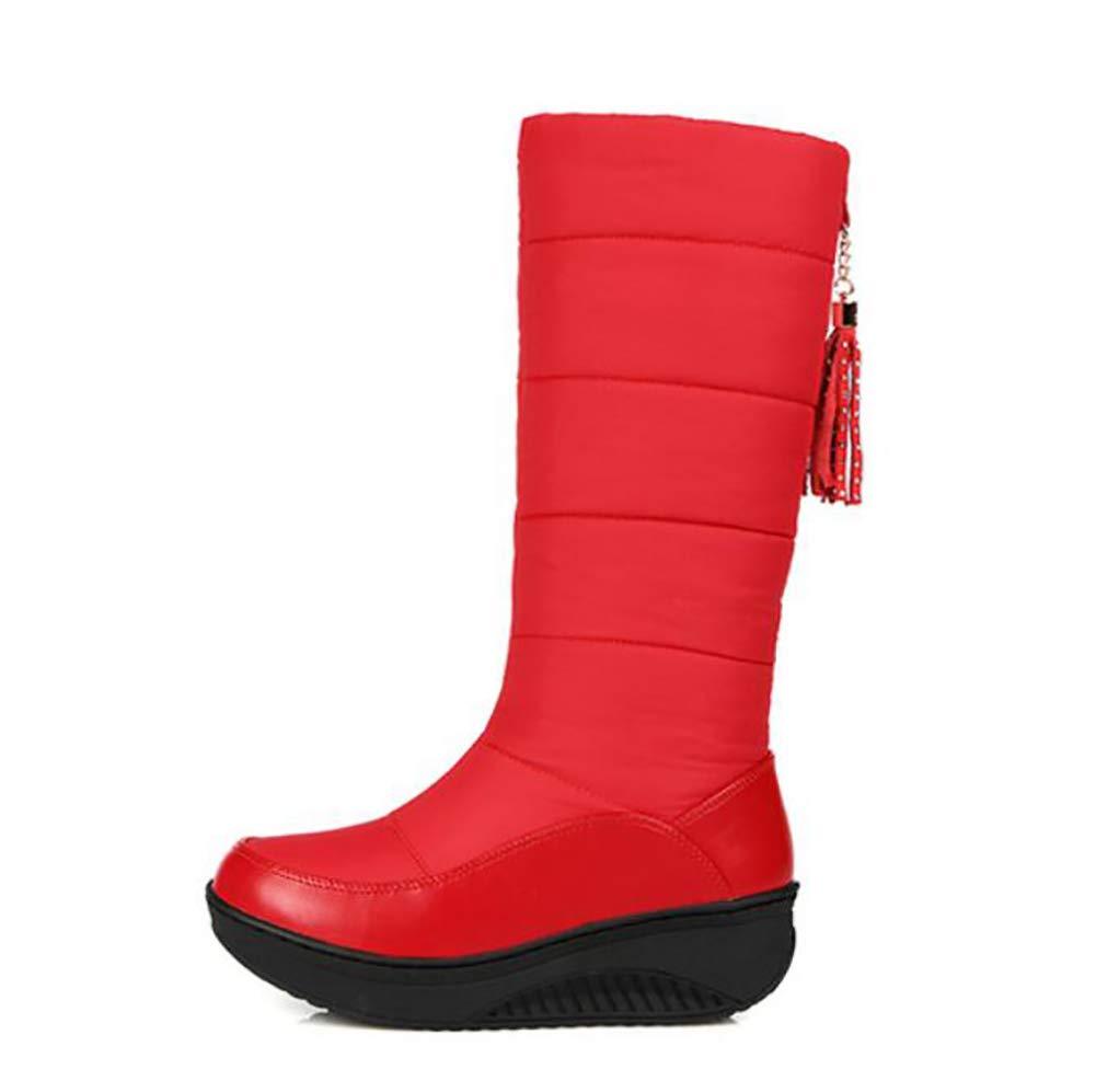 SHANGXIAN Donna Mezzo Stivali da Neve Inverno Caldo Impermeabile Impermeabile Impermeabile Giù Cotone Stivali Fondo Spesso Studente Scarpe di Cotone,Red,35(Suitablefor34) fcf5fd