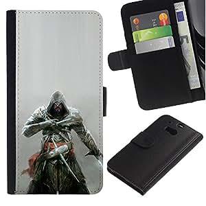 "A-type (Asesinos Samurai"") Colorida Impresión Funda Cuero Monedero Caja Bolsa Cubierta Caja Piel Card Slots Para HTC One M8"
