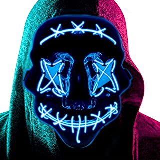 [2020 New Upgraded] Halloween Light up Mask LED Scary Masks Glow in The Dark Party Masks Halloween Cosplay Supplies