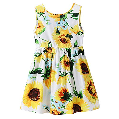 Toddler Baby Girl Princess Dress Kid Summer Floral Sunflowers Party Backless Bow Dresses Outfit Clothes F,4-5t