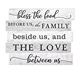 MRC Wood Products Bless The Food Before Us The Family Beside Us and The Love Between Us Wall Sign 15x18