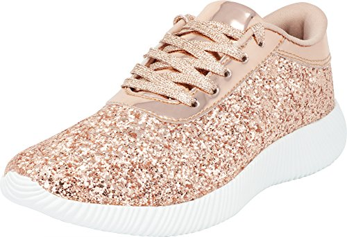 Cambridge Select Women's Low Top Closed Toe Glitter Lace-Up Casual Sport Fashion Sneaker,7.5 B(M) US,Rose Gold