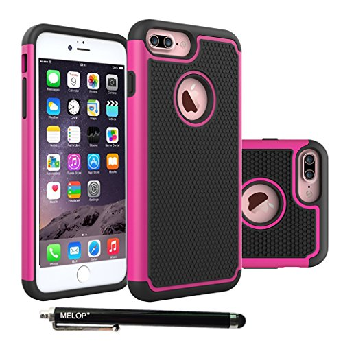 iPhone 7 Plus Case, 8 plus Case, MELOP Hybrid Dual Layer Shock Absorb Heavy Duty Armor Drops Protective Case for iPhone 7plus/ 8plus Bundle with a High Sensitivity Stylus - Rosered