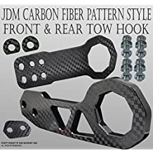 ICBEAMER Racing Style Universal Anodized CNC Aluminum Tow Hook Kit Including Front Rear Tow Hook [Color: Black]