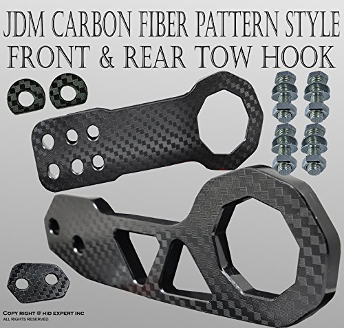 JDM 1SET CNC Billet Kit Front & Rear Universal TOW HOOK BLACK X3T (Black Front Tow Hook compare prices)