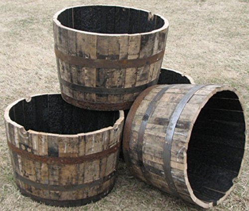 Lacquer finished Whisky Oak Wood Barrel Planter, 26
